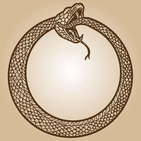 Uroboros, snake coiled in a ring, biting its tail. Engraving sketch scratch board imitation sepia.