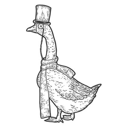 Goose wearing hat and scarf, monocle. Engraving vector illustration.