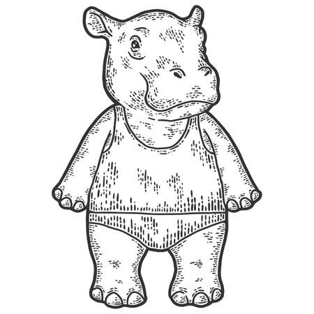 Baby hippo in shorts and t-shirt. Engraving raster illustration. Sketch scratch board imitation.