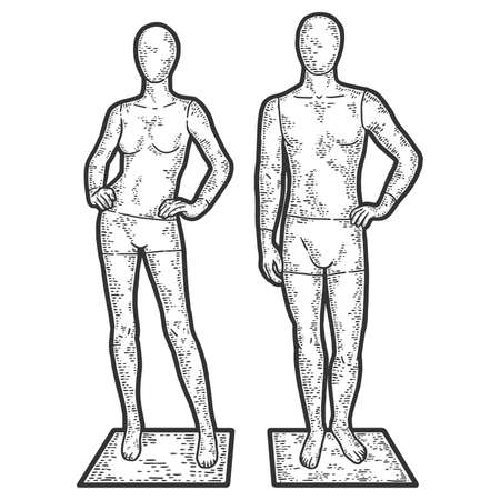 Mannequins for a showcase of a clothing store. Engraving raster illustration.