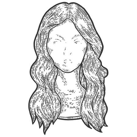 Female wig on a mannequin head. Engraving vector illustration sketch