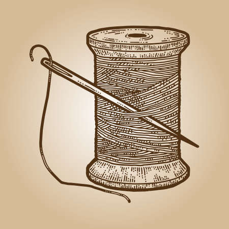 Skein thread with a needle for sewing isolated. Engraving sketch scratch board imitation sepia