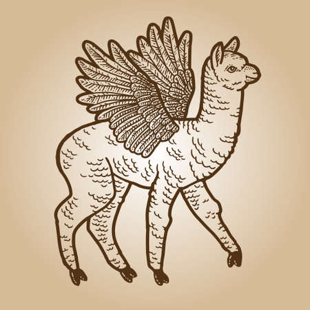 Llama with wings. Engraving sketch scratch board imitation. Sepia hand drawn image.
