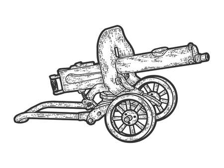 Maxim gun. Engraving raster illustration. Sketch scratch board imitation.