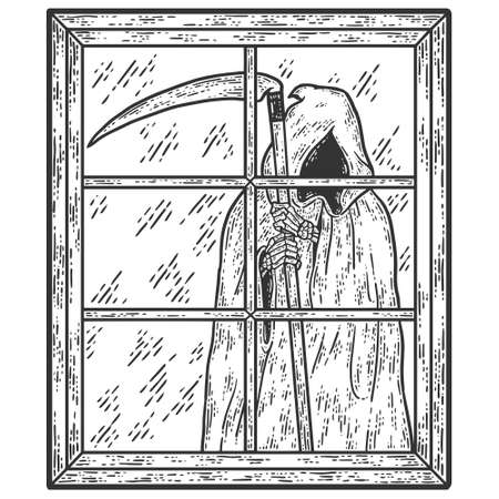 Death is outside the window. Engraving vector illustration.