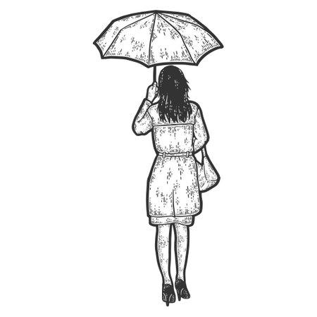 Girl under the umbrella leaves. Full height. Engraving vector illustration.