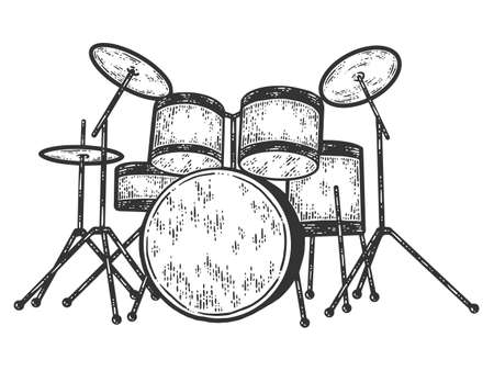 Drum kit. Engraving vector illustration. Sketch scratch