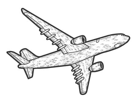 Flying plane, bottom view. Engraving vector illustration. Sketch 向量圖像