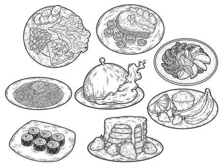 Set, food on plates. Engraving vector illustration. Sketch scratch.