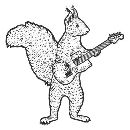 Squirrel plays the electric guitar. Engraving vector illustration.