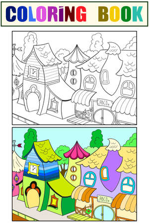 Set coloring book fantastic children houses. Vector illustration.
