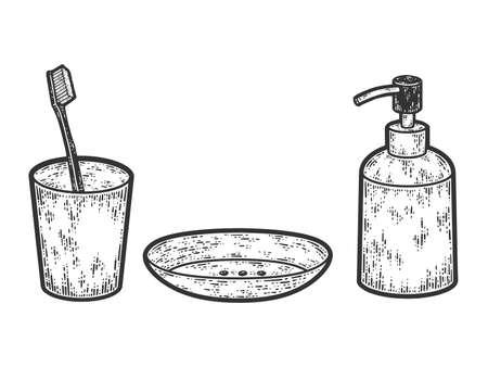 Bathroom set. Sketch scratch board imitation coloring. Engraving raster illustration coloring
