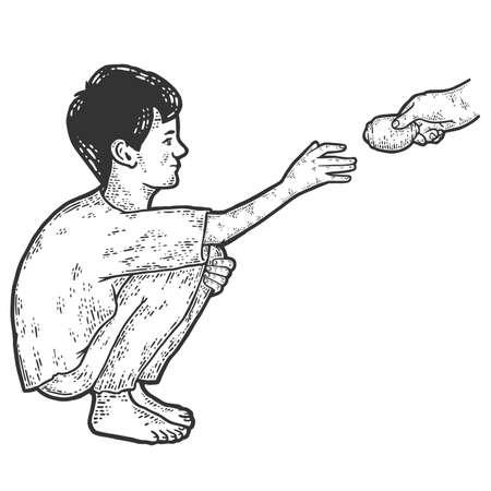 Poverty. Homeless boy pulls his hand for food. Sketch scratch board imitation. 版權商用圖片