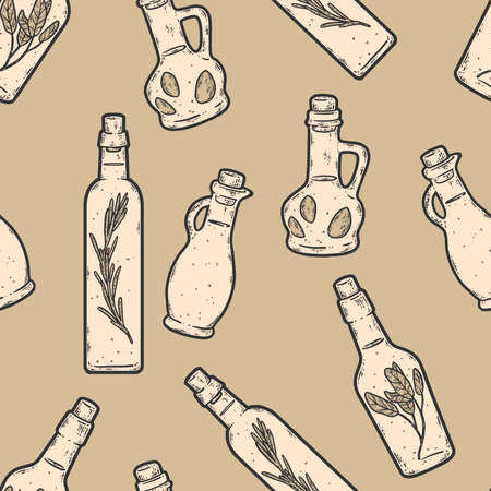 Seamless background set of jars with oil and spices. Sketch scratch sepia
