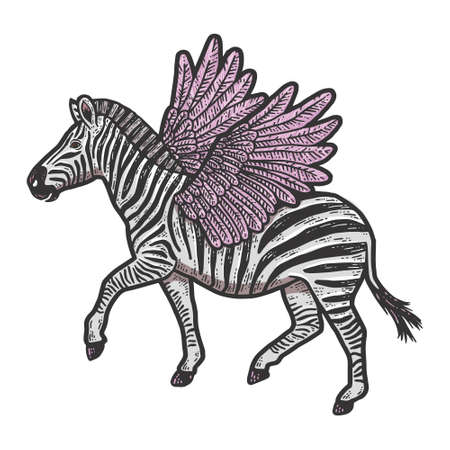 Cute zebra with wings. Isolated animal. Sketch scratch board imitation.