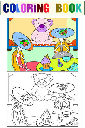 Puppet tea. Fantastic children. Set coloring book. Raster illustration.