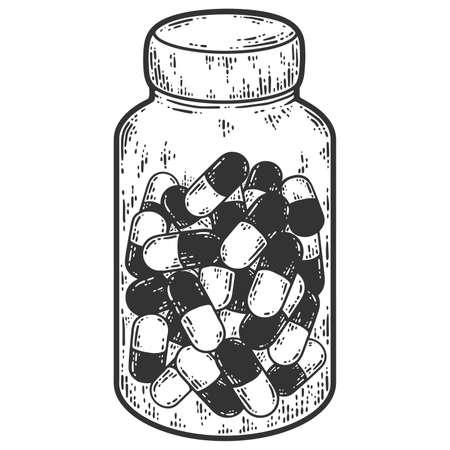 Medicines, jar of pills. Sketch scratch board imitation. Black and white. 版權商用圖片