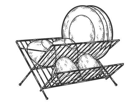 Dish drainer. Sketch scratch board imitation. Black and white. 版權商用圖片