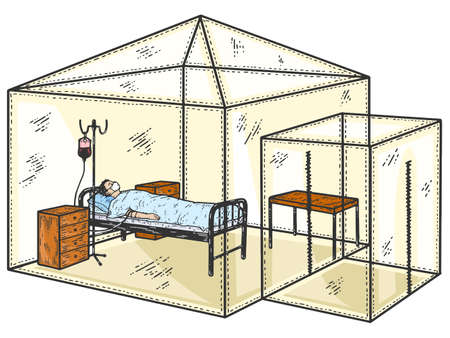 Color patient with a coronavirus in a hospital under a dropper. Is isolated in a medical tent from society.