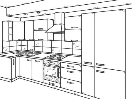 Kitchen interior. Sketch scratch board imitation. Black and white.