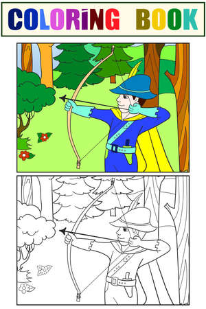 Archer in the forest. Fantastic children. Set coloring book.
