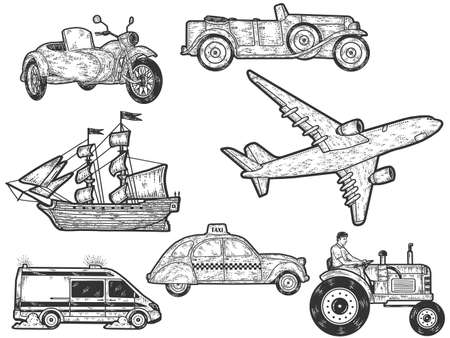 Large set, modes of transport. Sketch scratch board imitation. Engraving vector illustration