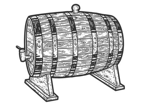 Wine barrel. Sketch scratch board imitation. Black and white.