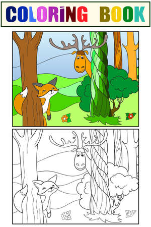 Animals play hide and seek. Set of coloring book and color picture.