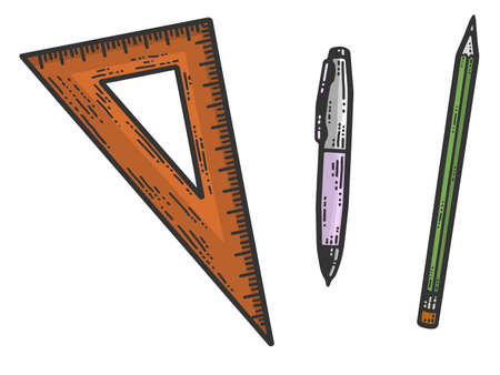 A set of stationery, pen, pencil and triangular ruler color. Sketch scratch board imitation. 免版税图像