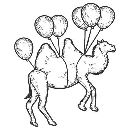 Camel flies on balloons. Sketch scratch board imitation. Black and white.