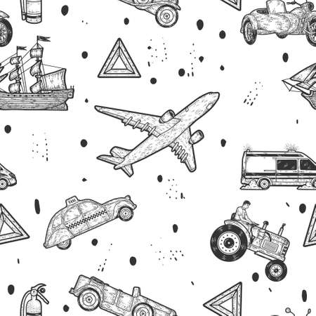 Large set, modes of transport seamless background.. Sketch scratch board imitation.
