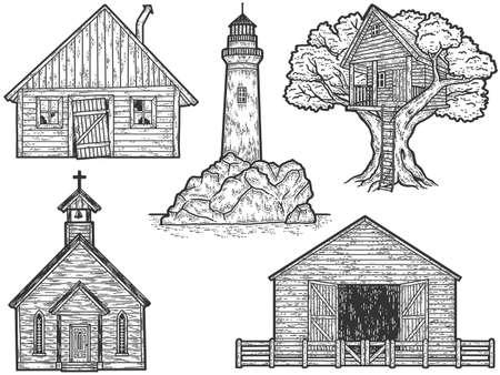 Set of old vintage buildings. Sketch scratch board imitation.