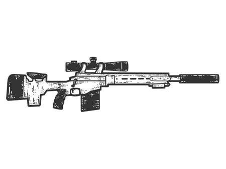 Remington MSR. Sketch scratch board imitation. Black and white.