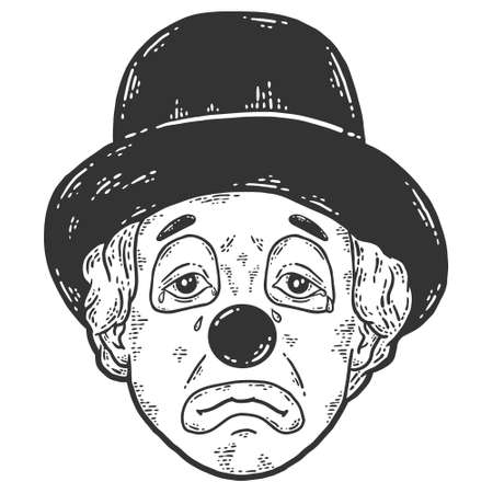 Face of sad clown in a hat. Sketch scratch board imitation color.