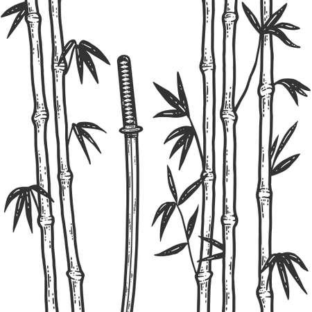 Katana in a bamboo grove. Sketch scratch board imitation color.