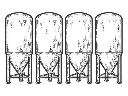 Fermentation tank for beer. Sketch scratch board imitation color. Vector Illustration