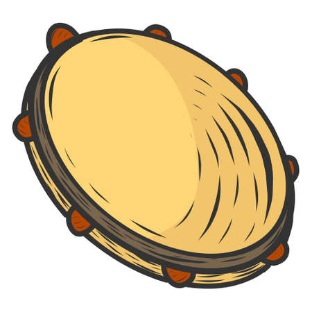Tambourine, musical instrument. Sketch scratch board imitation color. Illusztráció