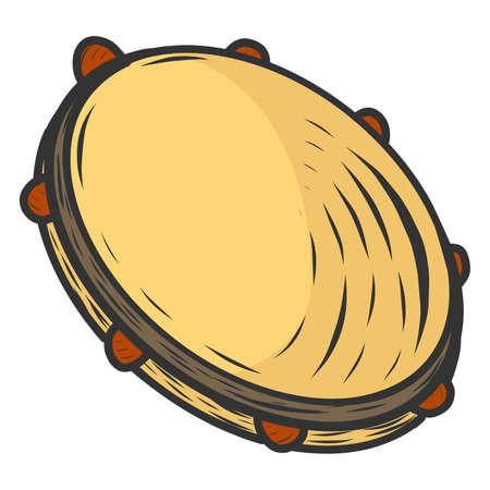 Tambourine, musical instrument. Sketch scratch board imitation color. Stock fotó