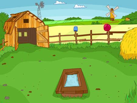 Farm yard. Cartoon farm color book outline children vector.