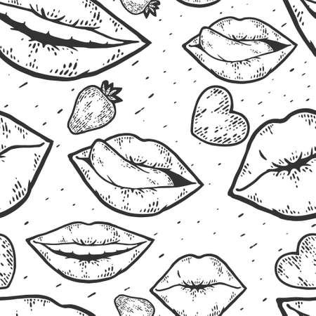 Seamless pattern. Happy kissing day card line art sketch engraving vector. Illusztráció