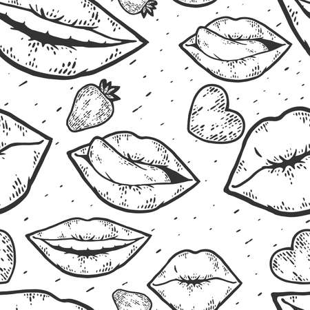 Seamless pattern. Happy kissing day card line art sketch engraving raster.