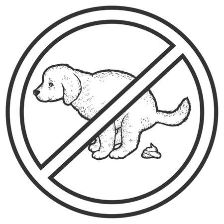Prohibition sign. Puppy pooping. Sketch scratch board imitation coloring.