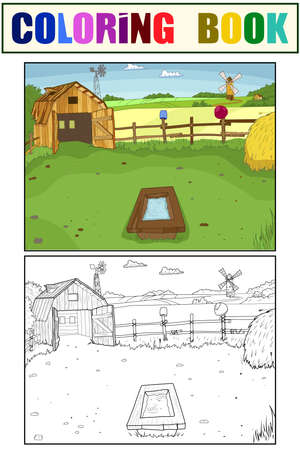 Set of coloring book and color picture. Cartoon farm.