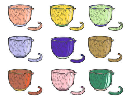 Set of colored cups. Crockery, broken cup. Sketch scratch board imitation.
