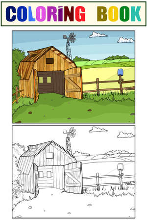 Set of coloring book and color picture. Barn in the village. Stock fotó