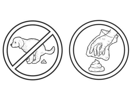 Set prohibition sign. Puppy pooping. Clean up after your dog. Dog owner cleaning the lawn with plastic bag.
