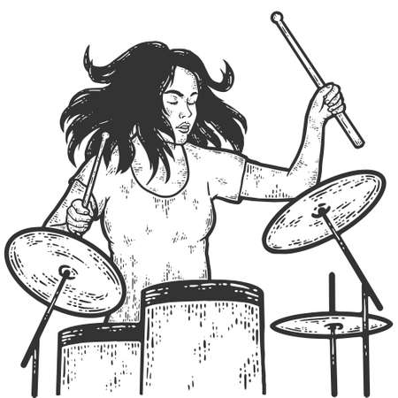 Girl plays the drum kit. Drummer. Sketch scratch board imitation coloring. Illusztráció