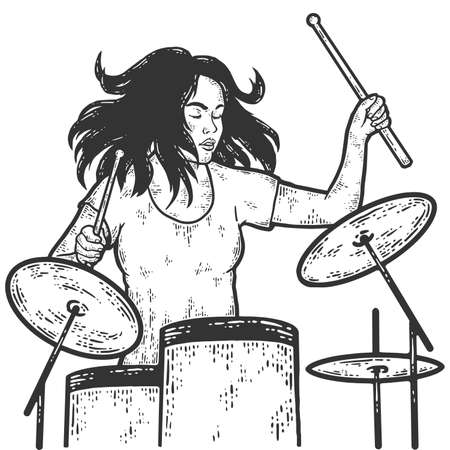 Girl plays the drum kit. Drummer. Sketch scratch board imitation coloring. Stock fotó