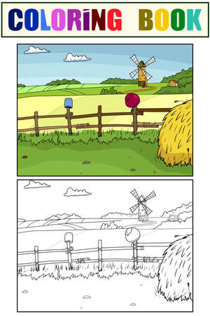 Set of coloring book and color picture. Field and haystack. Outline children