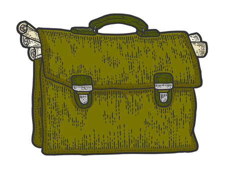Leather briefcase of busy businessman full of papers and documents.